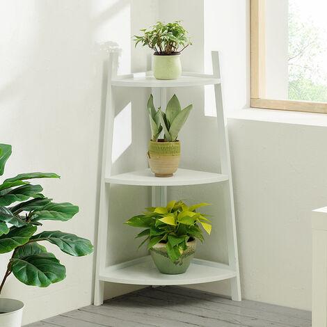 White Ladder Bamboo Wood Flower Plant Stand Corner Bookcase Shelf