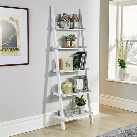 """main image of """"White Ladder Shelving Unit 5 Tier Display Stand Book Shelf Wall Rack Storage"""""""