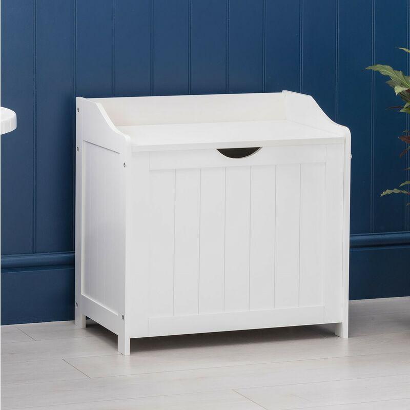 White Laundry Box Wooden Bathroom Storage Basket Linen