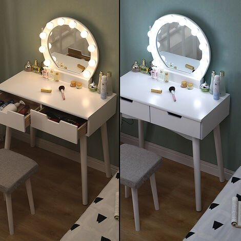 White led two-drawer dressing table with stool and stand 131 * 80 * 40cm