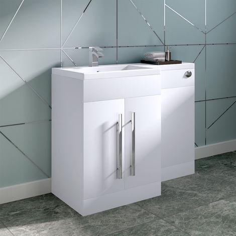 White Left Hand Bathroom Storage Furniture Combination Vanity Unit Set (No Toilet)