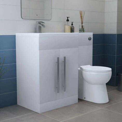 White Left Hand Combination Bathroom Furniture Vanity Unit Set with Toilet