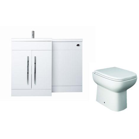 White Left Hand Combination Vanity Unit basin Set & Toilet + Seat + Cistern