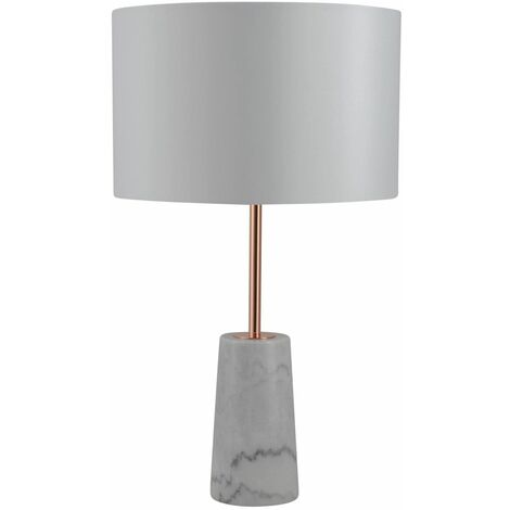 White Marble and Copper Table Lamp with White Fabric Shade
