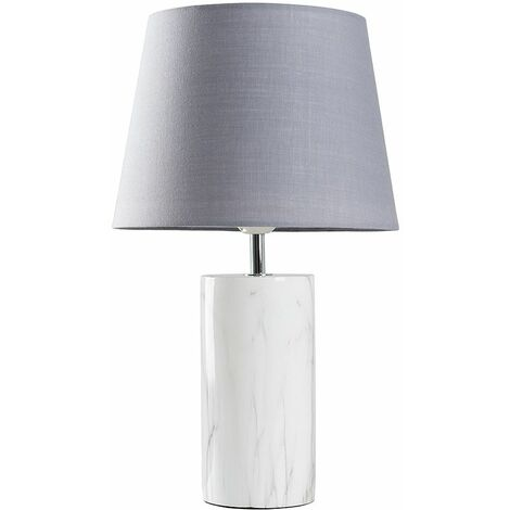 White Marble Effect Table Lamp + Grey Shade - 4W LED Bulb Warm White