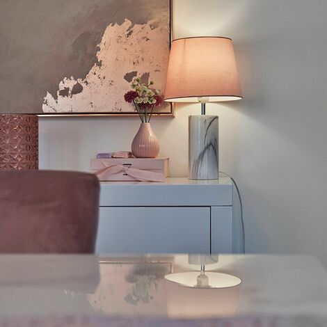 White Marble Effect Table Lamp + Pink Shade