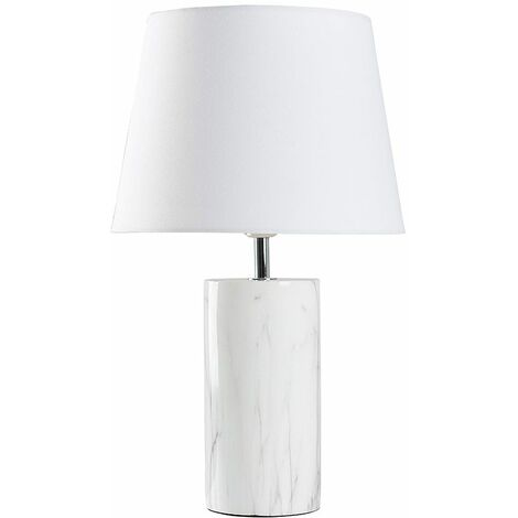 White Marble Effect Table Lamp + White Shade - 4W LED Bulb Warm White