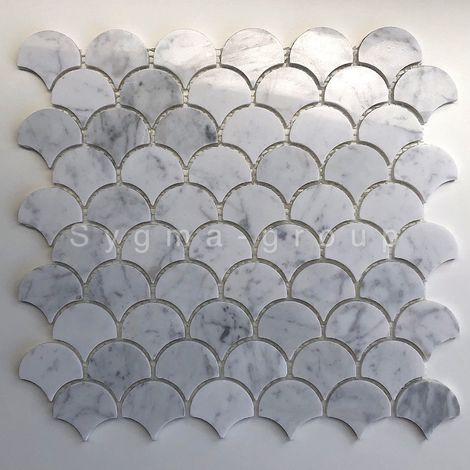 white marble mosaic floor and wall tile model TIMPA