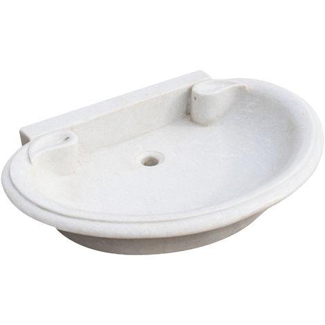 White marble W75xDP54xH15 cm sized bath sink