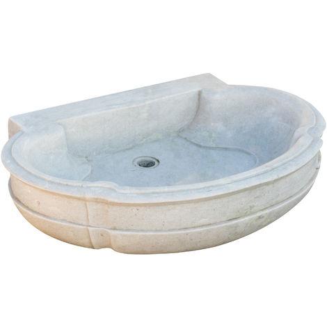 White marble W80xDP57xH16 cm sized bath sink