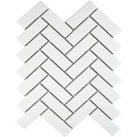 White Matt Herringbone Mosaic Tiles - 315x245x5.2mm