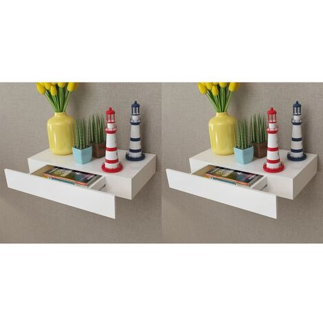Floating Wall Shelves with Drawers White 2 pcs 48 cm