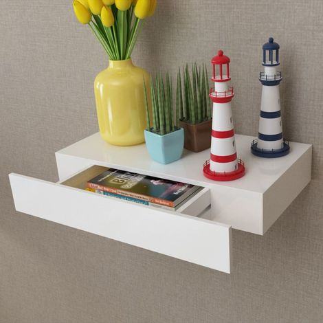 White MDF Floating Wall Display Shelf 1 Drawer Book/DVD Storage VD09118
