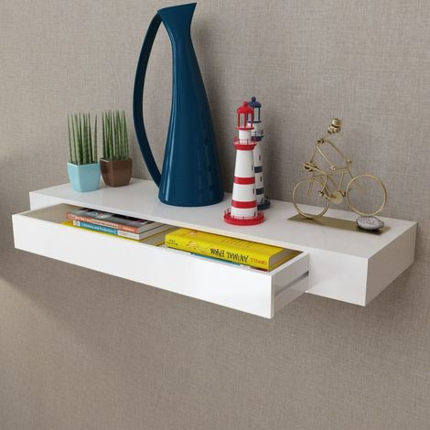 White MDF Floating Wall Display Shelf 1 Drawer Book/DVD Storage VD09119