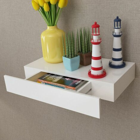 White MDF Floating Wall Display Shelf 1 Drawer Book/DVD Storage VDTD09118
