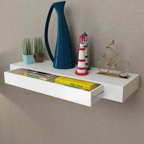 White MDF Floating Wall Display Shelf 1 Drawer Book/DVD Storage VDTD09119