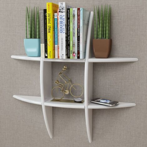 White MDF Floating Wall Display Shelf Book/DVD Storage