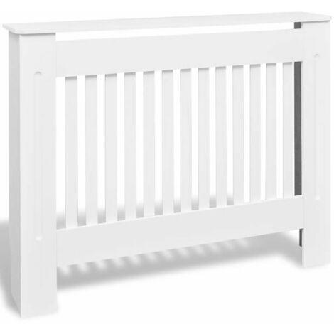 White MDF Radiator Cover Heating Cabinet 112 cm QAH09120