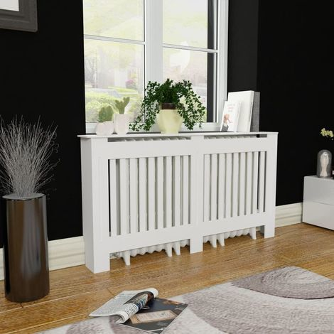 White MDF Radiator Cover Heating Cabinet 152 cm VD09121