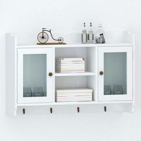 White MDF Wall Cabinet Display Shelf Book/DVD/Glass Storage