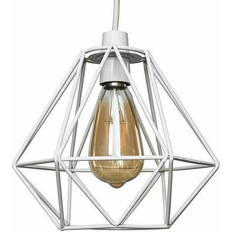 White Metal Ceiling Pendant Light Shade - 4W LED Filament Bulb Warm White