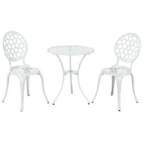 White Metal Garden Patio Bistro Set 2 Dining Chairs Round Table Outdoor Durable