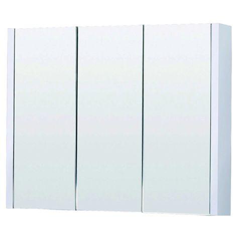 White Minimalist Mirror Cabinet 900mm - Eden