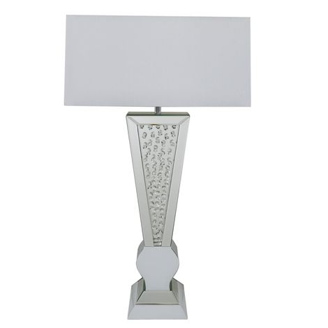 White Mirror Diamond Crystal Table Lamp With White Fabric Shade - Big Living