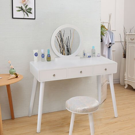 White modern style 3 drawer dressing table with stool 100 * 40 * 125CM