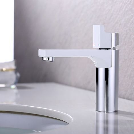 White Modern Waterfall Bathroom Basin Solid Brass Hot Cold Mixer Tap
