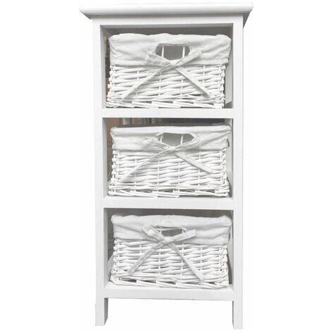 White Narrow Bedside Cabinet 3 Chest Of Draws Drawer Bathroom Storage Unit (29x31x56cm)