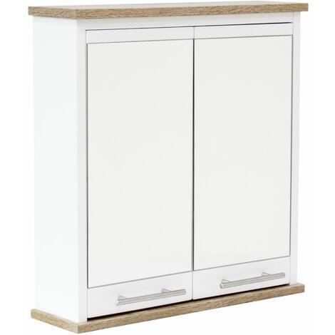White & Oak Effect Bathroom Mirrored Storage Cabinet