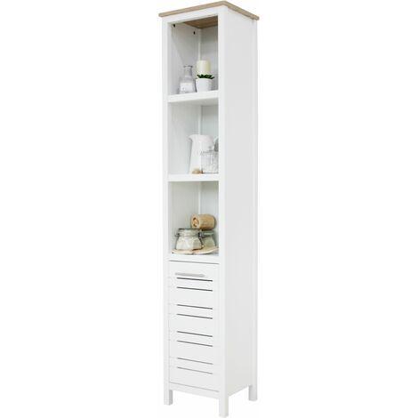 White & Oak Effect Bathroom Tallboy Storage Cabinet
