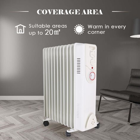 White Oil Filled Radiator 11 Fin 2500W Portable Electric Heater with 24H Timer
