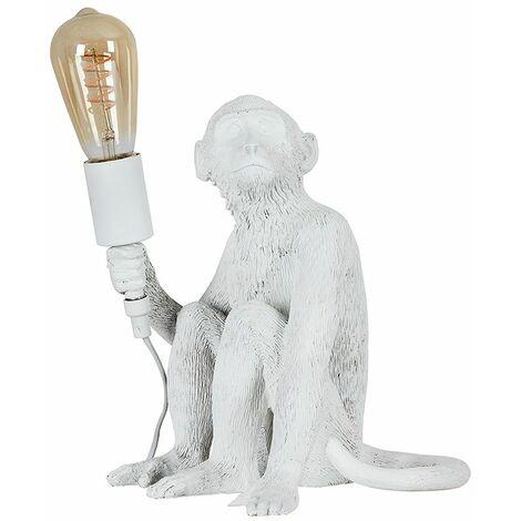 White Painted Monkey Table Lamp + 4W LED Helix Filament Bulb 2200K Warm White - White
