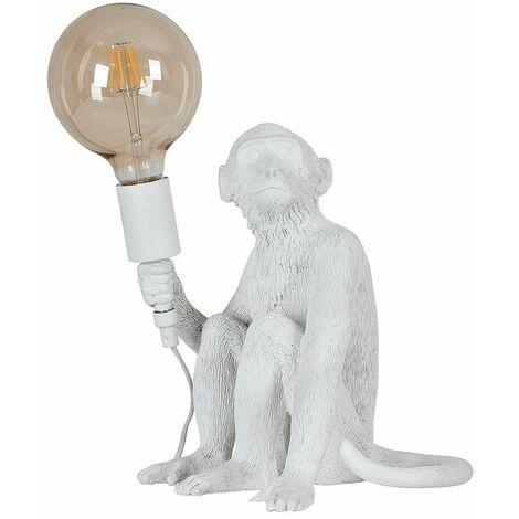 White Painted Monkey Table Lamp + 6W LED Filament Globe Bulb Warm White - White