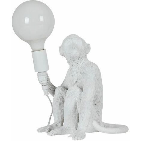 White Painted Monkey Table Lamp + 6W LED Globe Bulb Neutral White