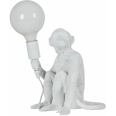 White Painted Monkey Table Lamp + 6W LED Globe Bulb Neutral White - White