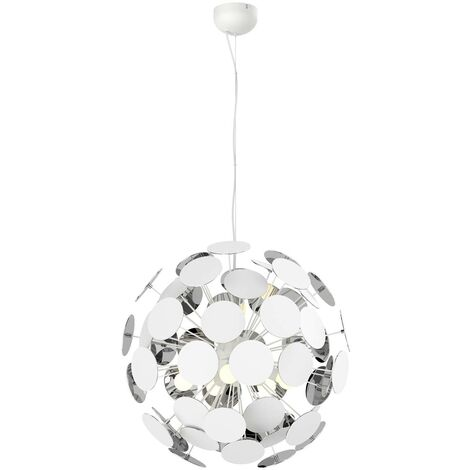 White pendant lamp Kinan with panes
