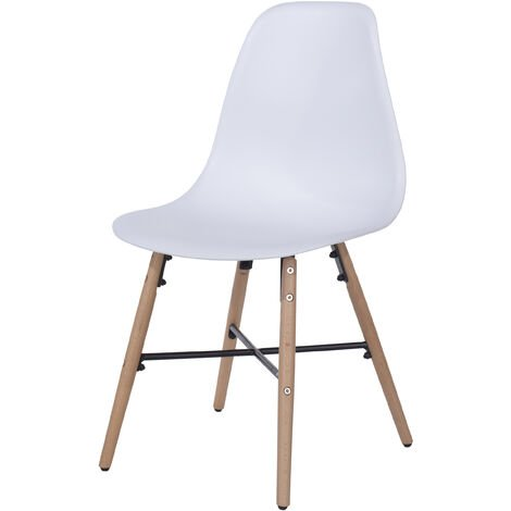white plastic chairs with wood legs & metal cross rails (pair)