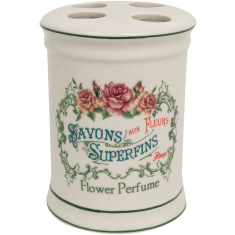 """White porcelain decorated""""Savons Superfines""""toothbrush holder in W8,5x DP8,5xH11,5 cm sized"""