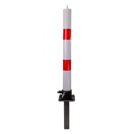 White & Red Fold Down Parking Post with Ground Spigot, Integral Lock & Eyelet (001-3660 K/D, 001-3650 K/A)