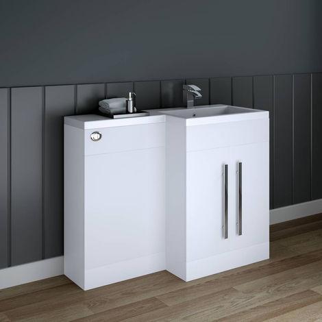 White Right Hand Bathroom Storage Furniture Combination Vanity Unit Set (No Toilet)