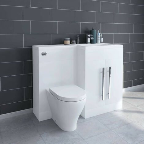 White Right Hand Combination Bathroom Basin Furniture Vanity Unit Set with Toilet