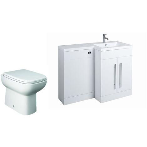 White Right Hand Combination Vanity Unit basin Set & Toilet + Seat + Cistern