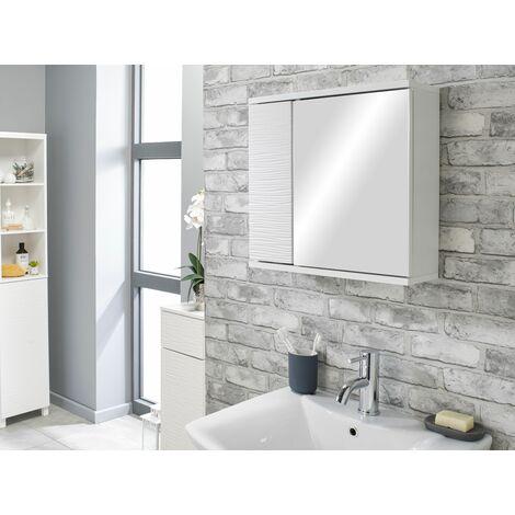 White Ripple Bathroom Mirrored Storage Unit Cabinet