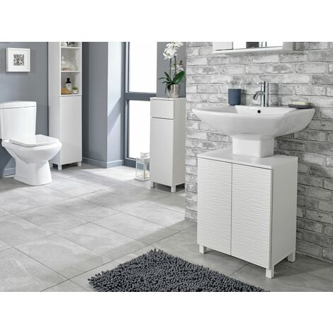"main image of ""White Ripple Bathroom Underbasin Storage Unit - White"""