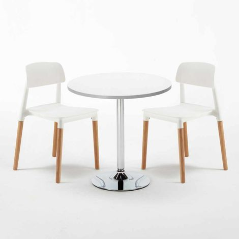 White Round Table 70x70cm And 2 Chairs Home Interiors BARCELLONA LONG ISLAND