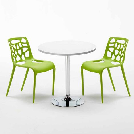 White Round Table 70x70cm And 2 Chairs Home Interiors GELATERIA LONG ISLAND