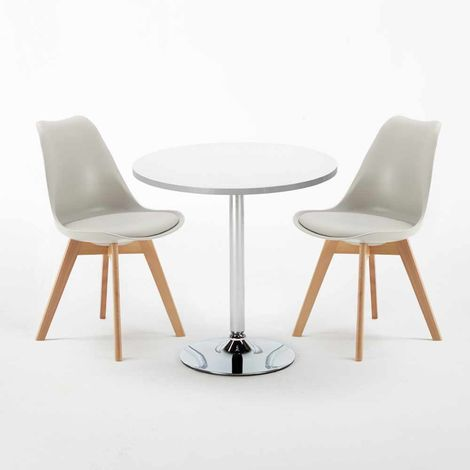 White Round Table 70x70cm And 2 Chairs Home Interiors NORDICA LONG ISLAND